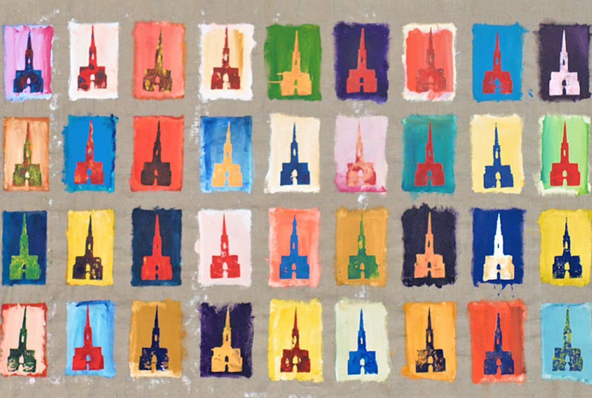 Plakatleinwand Kreuzkirchen, Styenedruck auf Acryl-Leinwand, 150 x 265 cm, November 2011, Albrecht K. Scherer