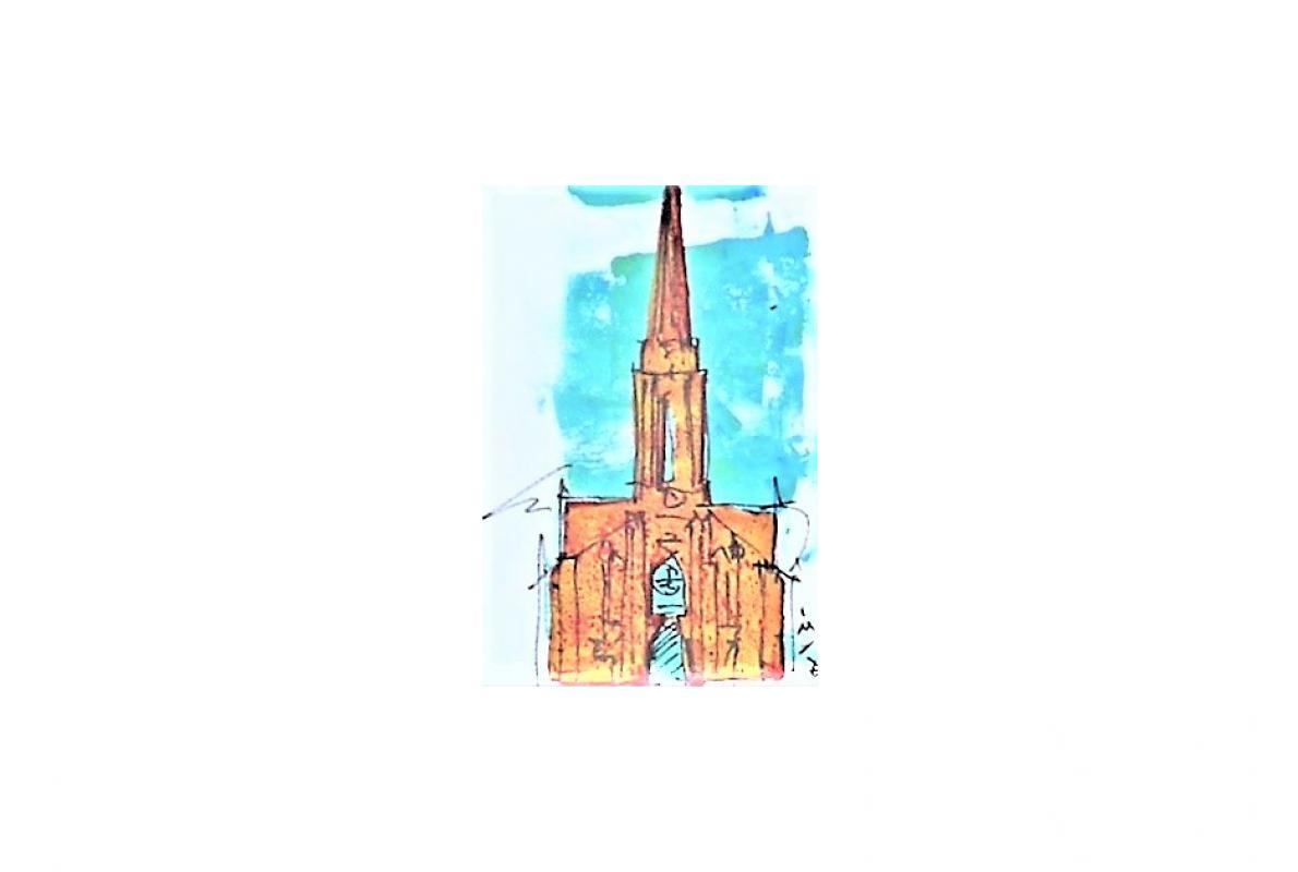Kreuzkirche Klappkarte 1, Styrenedruck auf Papier, 11,5 x 17 cm, August 2011, Albrecht K. Scherer