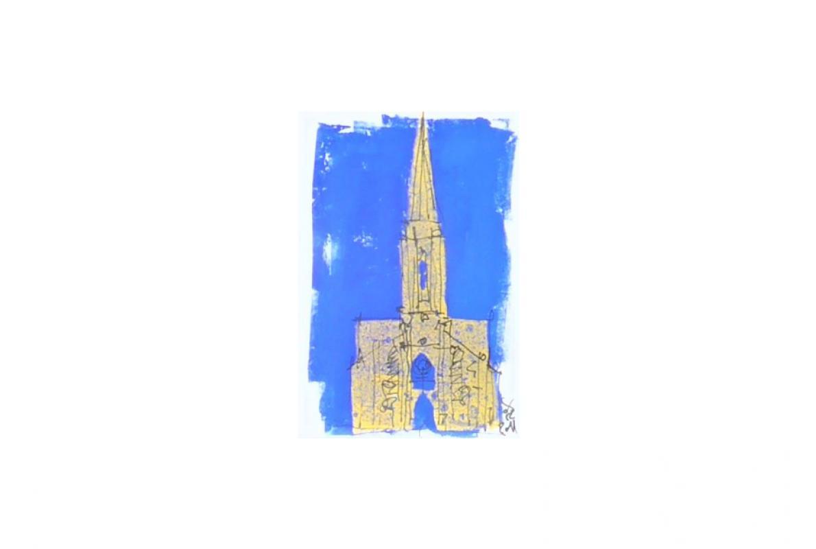 Kreuzkirche Klappkarte 2, Styrenedruck auf Papier, 11,5 x 17 cm, August 2011, Albrecht K. Scherer