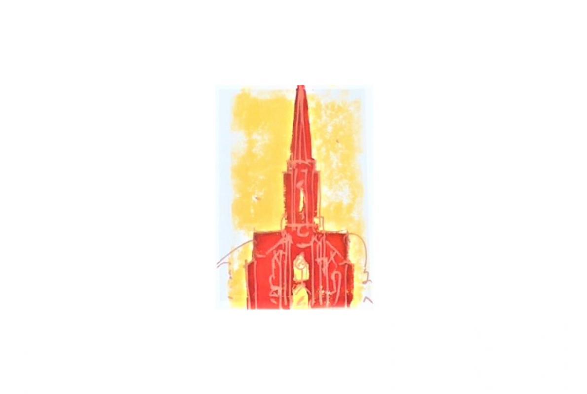 Kreuzkirche Klappkarte 4, Styrenedruck auf Papier, 11,5 x 17 cm, August 2011, Albrecht K. Scherer