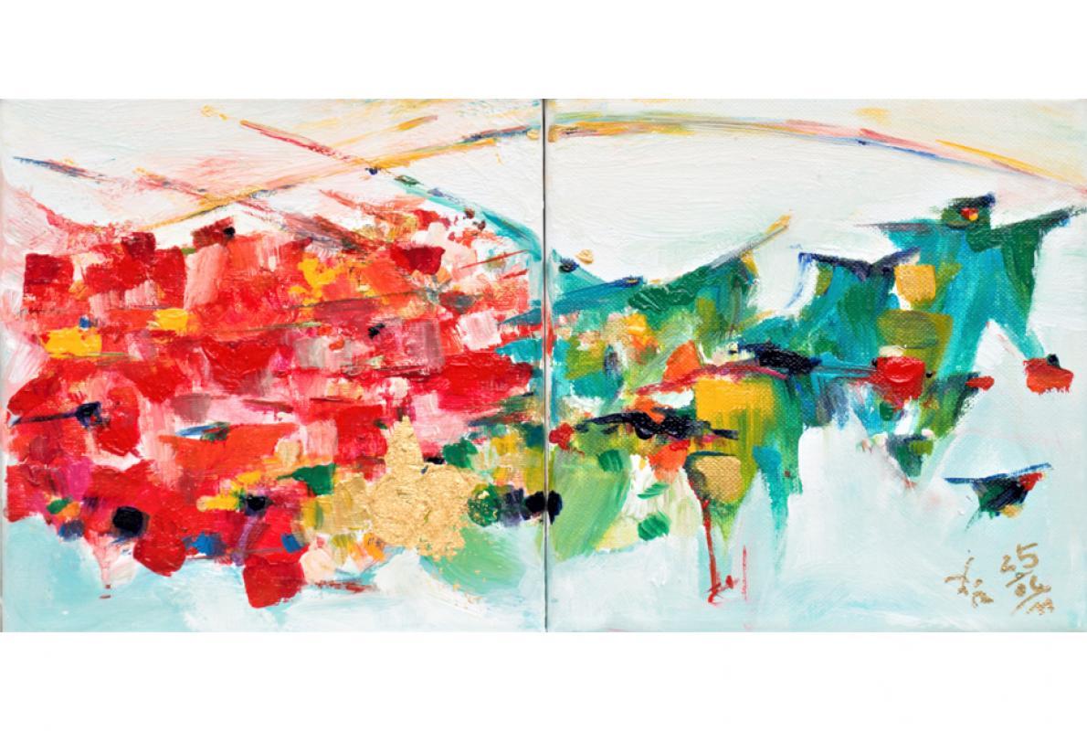Liebe und Dankbarkeit II, Acryl auf Leinwand, 2 x 15 x 15 cm, Juni 2011 - Albrecht K. Scherer