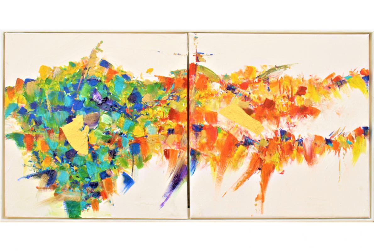 Lieb und Leb, Acryl auf Leinwand, 2 x 30 x 30 cm, Mai 2012 - Albrecht K, Scherer