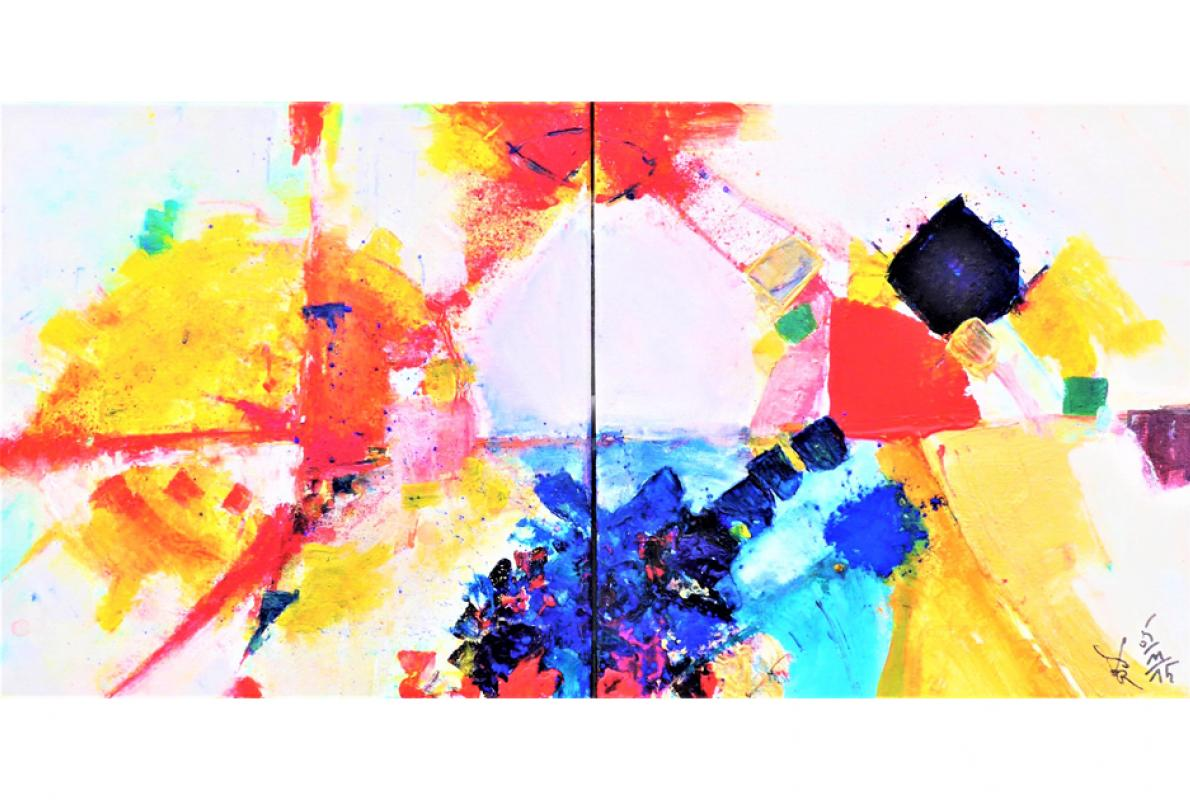 Liebe und Vergebung, Acryl auf Leinwand,  2 x 20 x 20 cm, Dezember 2015 - Albrecht K. Scherer