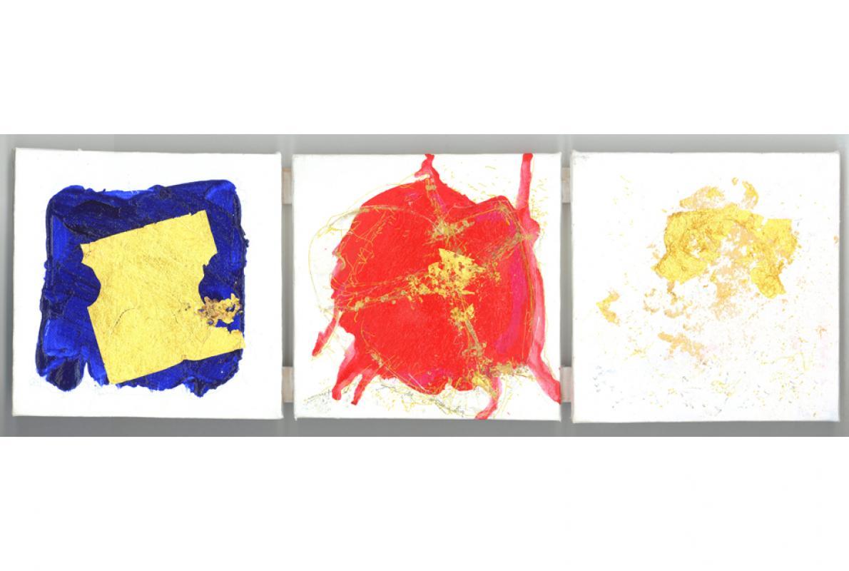 Dreieinigkeit, Acryl auf Leinwand, 3x 15 x 15 cm, Februar 2010 - Albrecht K. Scherer