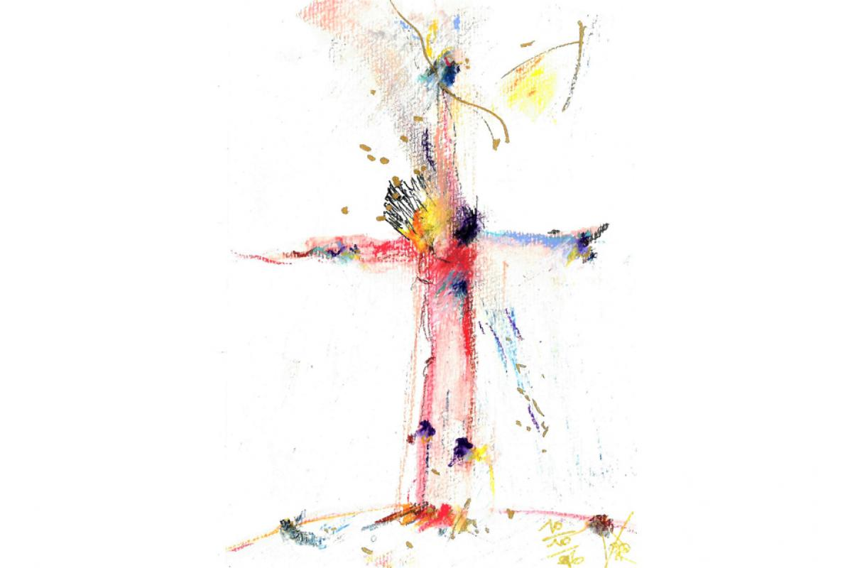 Kreuz, Aquarell auf Papier, 14 x 21 cm, Oktober 2006 - Albrecht K. Scherer