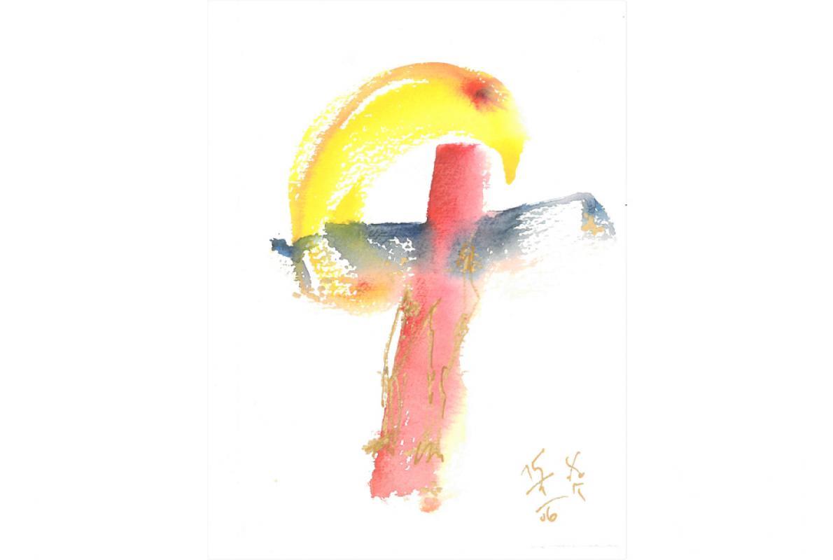 Kreuz in Heiligkeit, Aquarell auf Papier, 14 x 21 cm, Januar 2006 - Albrecht K. Scherer