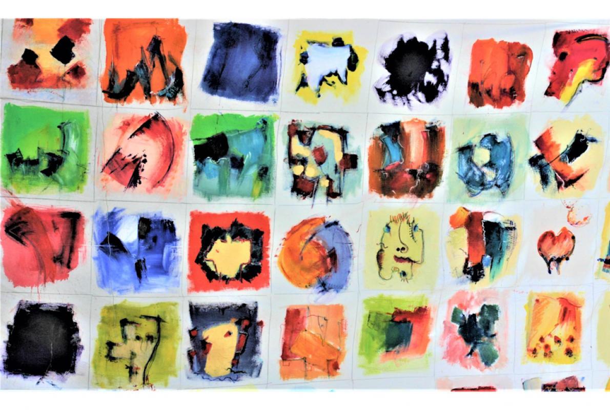 Tuch 60, Acryl auf Nessel, 140 x 220 cm, August 2009, Privatbesitz, Albrecht K. Scherer