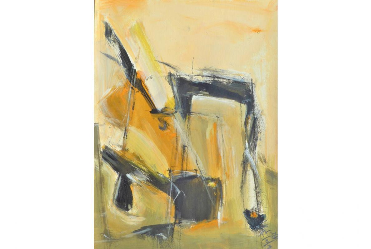 Vom Ocker Torwärtz, Acryl auf Papier, 36 x 48 cm, August 2003, Albrecht K. Scherer