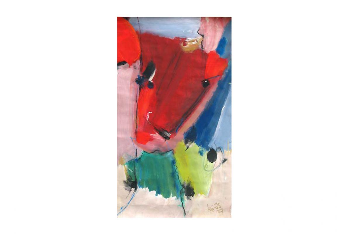Der kleine Stier, Acryl auf Papier, 38 x 69 cm, Oktober 2004, Privatbesitz, Albrecht K. Scherer