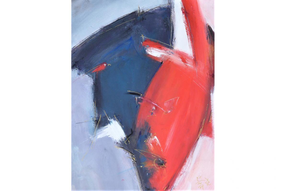 Spitzer Zorn, Acryl auf Papier, 34 x 48 cm, Oktober 2004, Albrecht K. Scherer