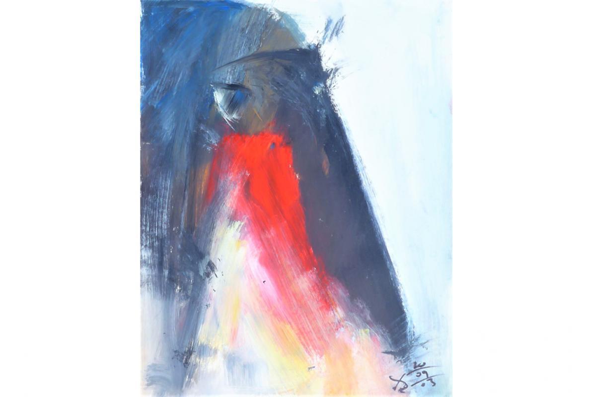 Feuerauge, Acryl auf Papier, 36 x 48 cm, September 2003, Albrecht K. Scherer
