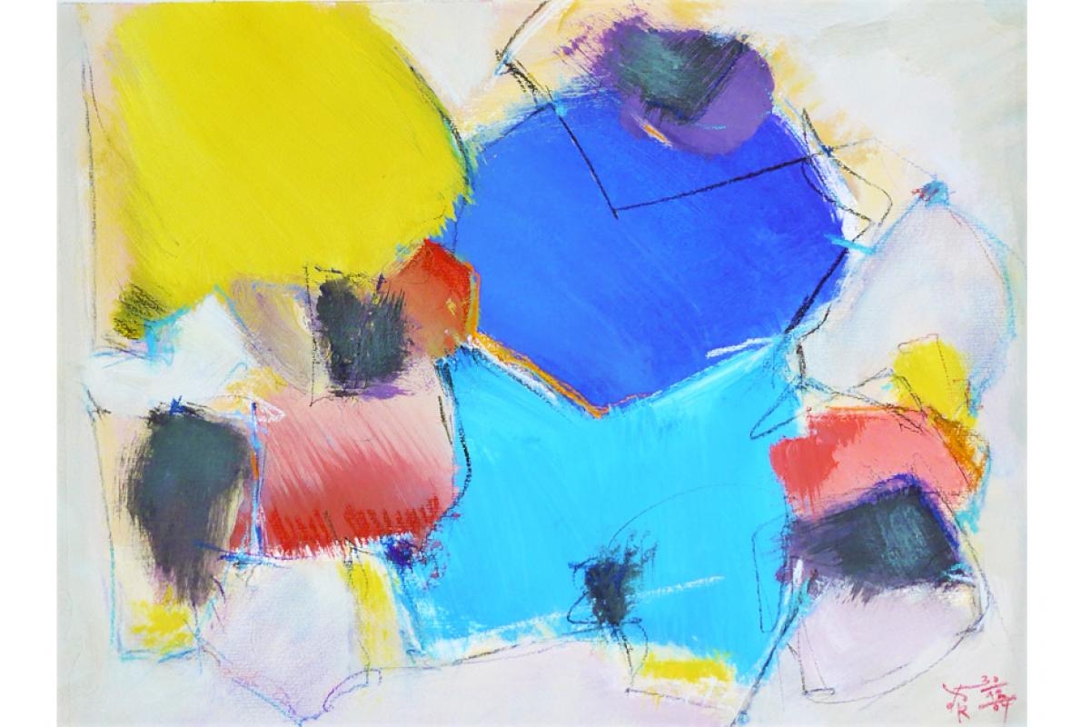 Er ist-Sie möchte,  Acryl auf Papier, 36 x 48 cm, Oktober 2004, Albrecht K. Scherer
