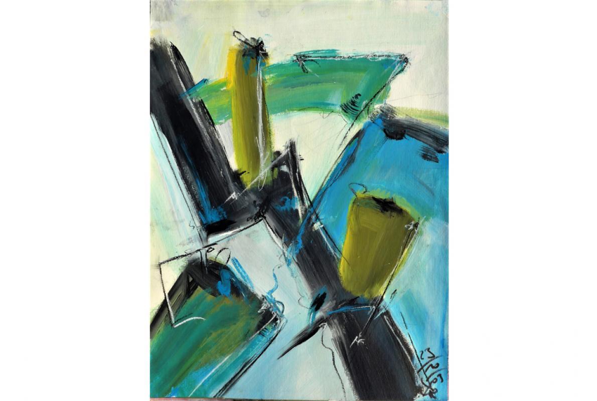 Schwarzzack-Blauflach, Acryl auf Papier, 34 x 48 cm, Oktober 2003, Albrecht K. Scherer