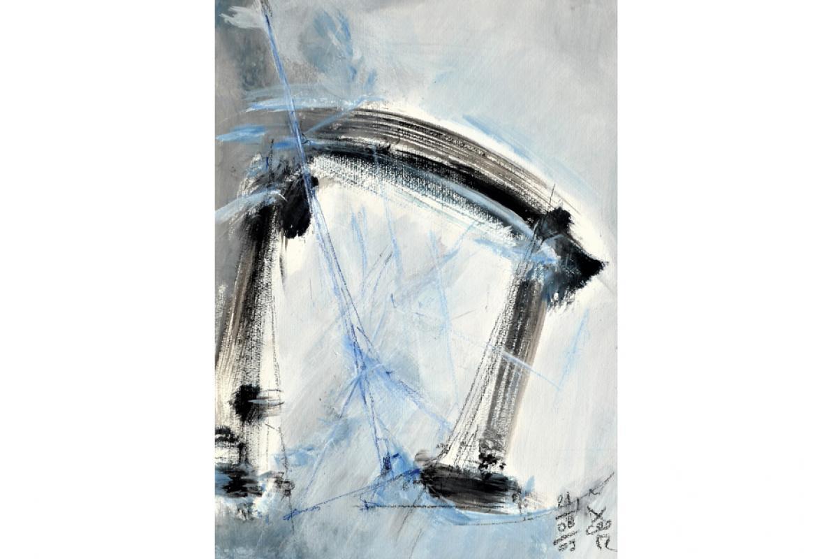 Wasserwelten, Acryl auf Papier, 36 x 48 cm, August 2003, Albrecht K. Scherer