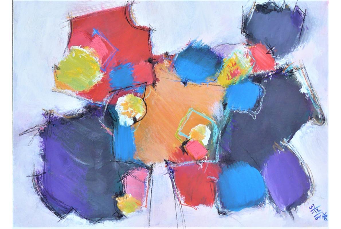 Von Außen, Acryl auf Papier, 48 x 34 cm, Dezember 2005, Albrecht K. Scherer