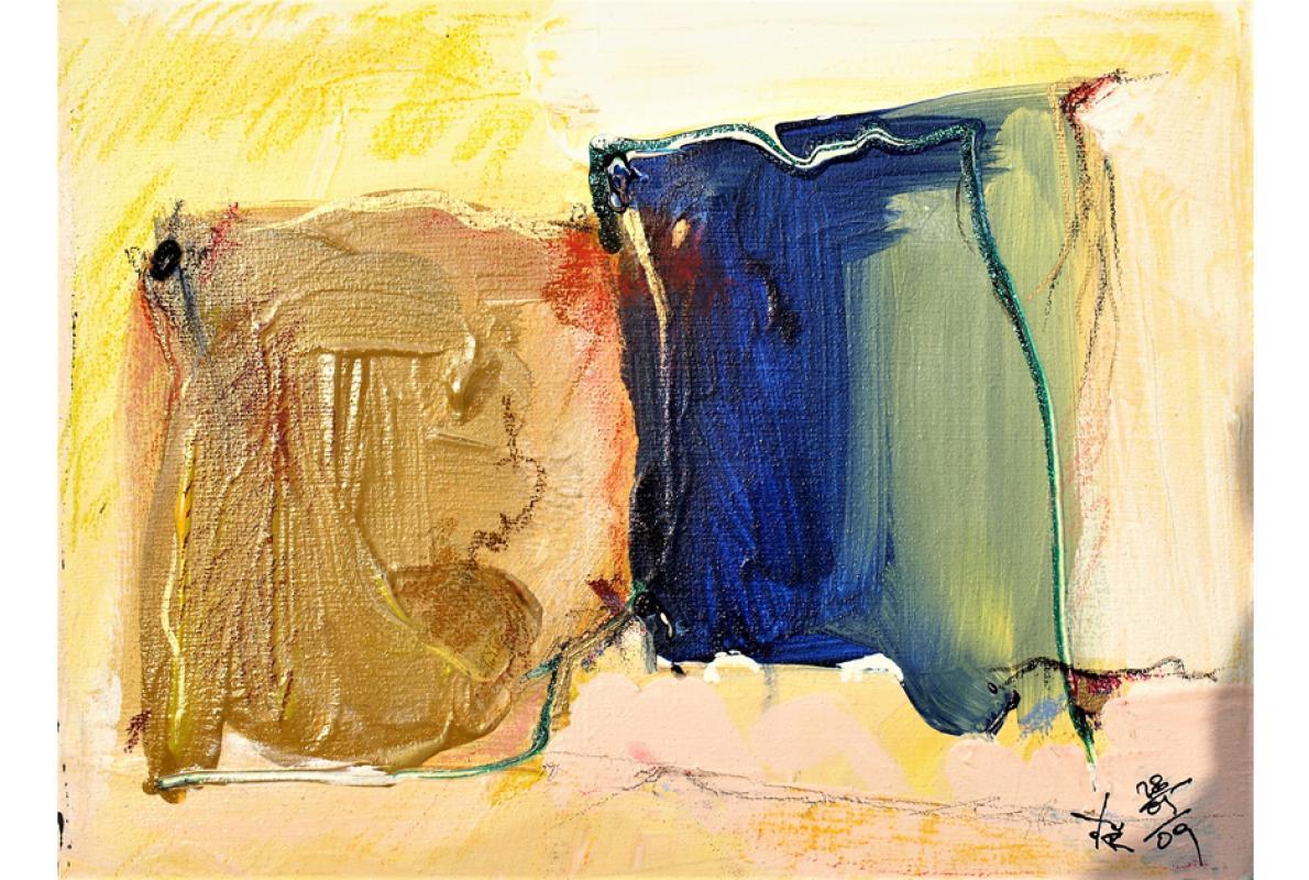 Zweierseitig, Acryl auf Leinwand,18 x 24 cm, Mai 2009, Albrecht K. Scherer