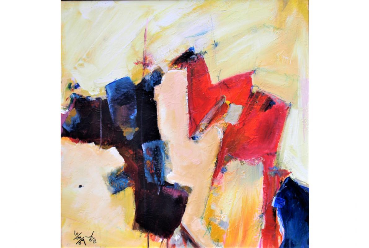 Dämon und Zicke, Acryl auf Leinwand, 60 x 60 cm, Juni 2009, Albrecht K. Scherer