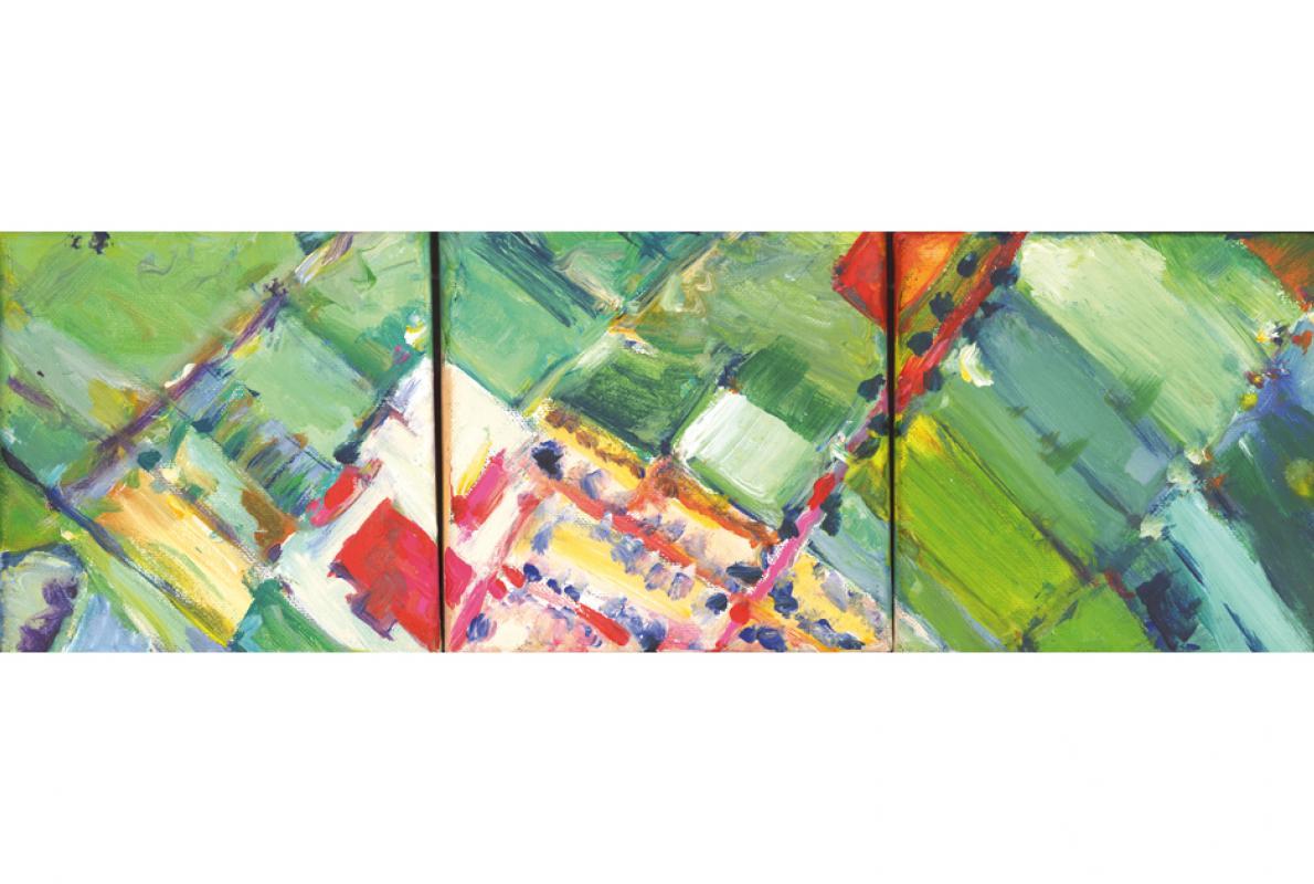 Porzer Längsschnitt, Acryl auf Leinwand, 3 von 17 x 15 x15 cm, November 2009, Albrecht K. Scherer