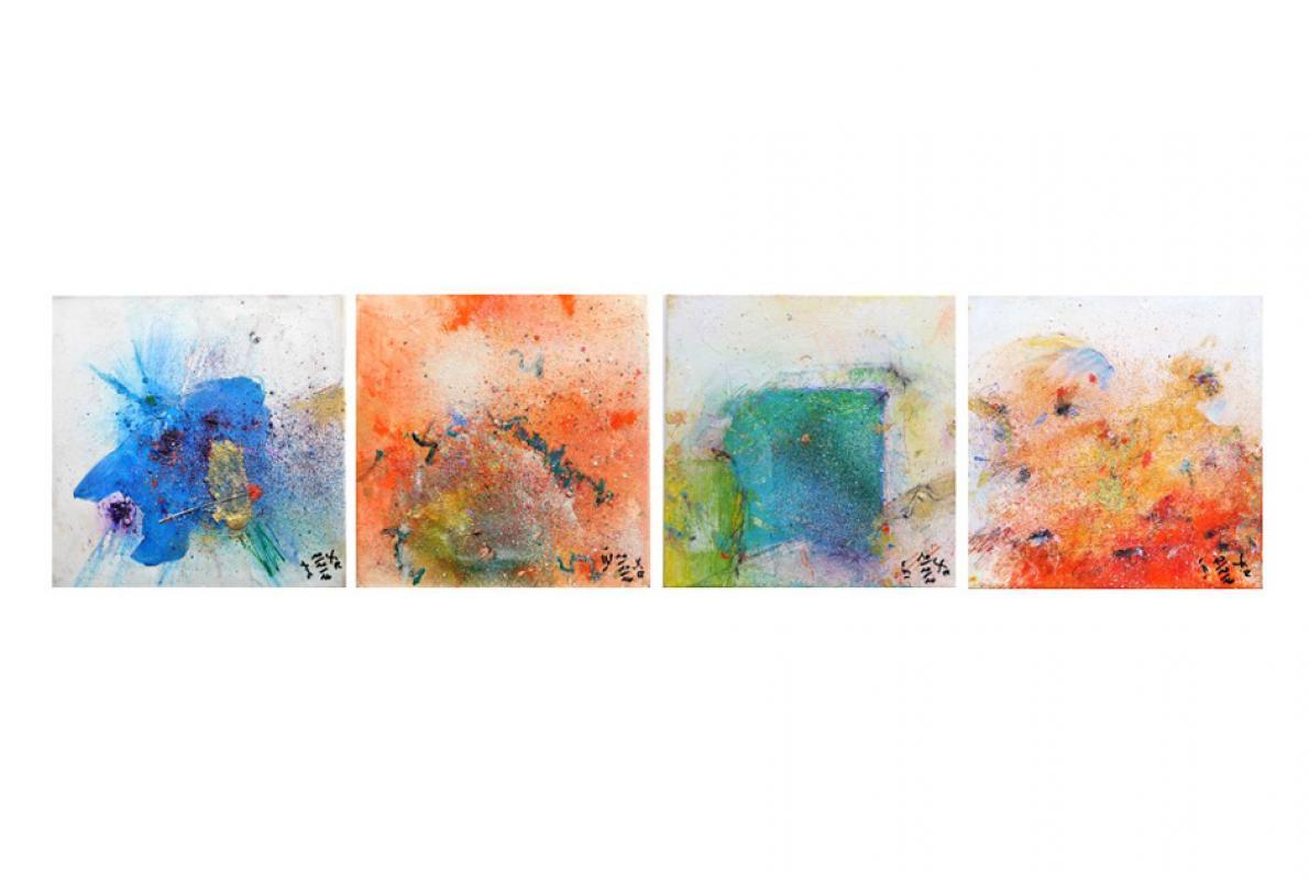 4 Charaktere, Acryl auf Leinwand, 4 x 30 x 30 cm, Oktober 2016, Albrecht K. Scherer