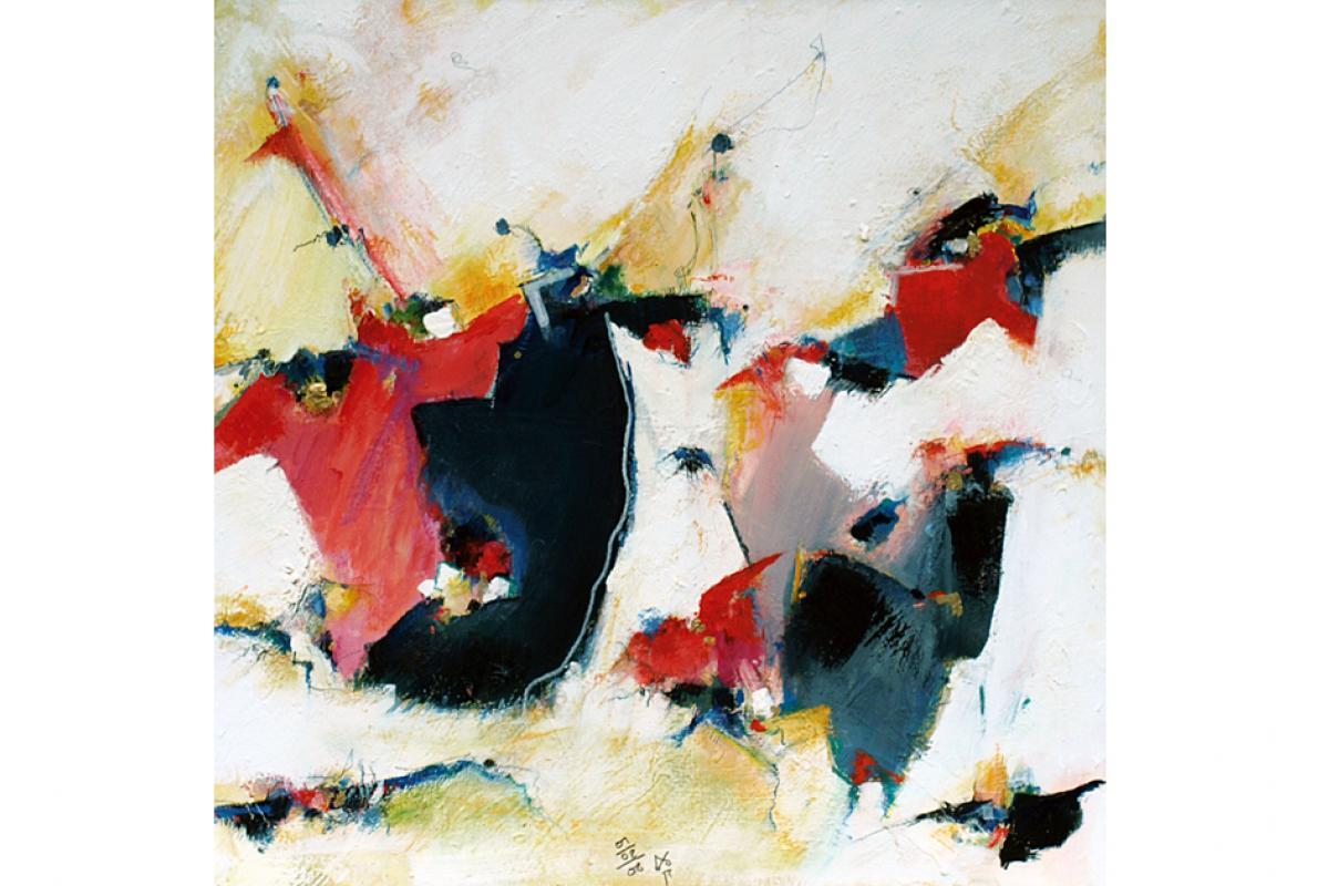 Fliegender Redenschwung, Acryl auf Leinwand, 60 x 60 cm, Februar 2008, Albrecht K Scherer