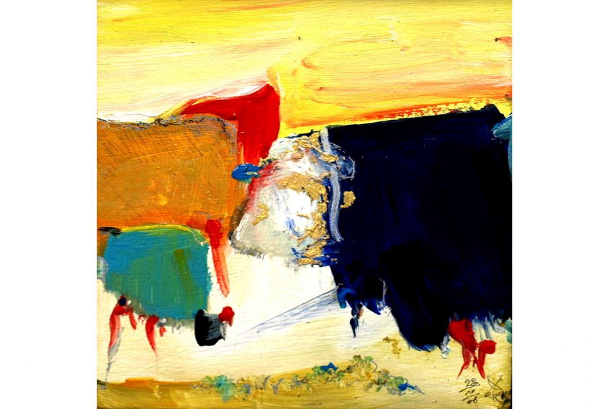 Zwei in einem, 20 x 20 cm, Acryl auf Leinwand, Oktober 2008, Privatbesitz, Albrecht K. Scherer