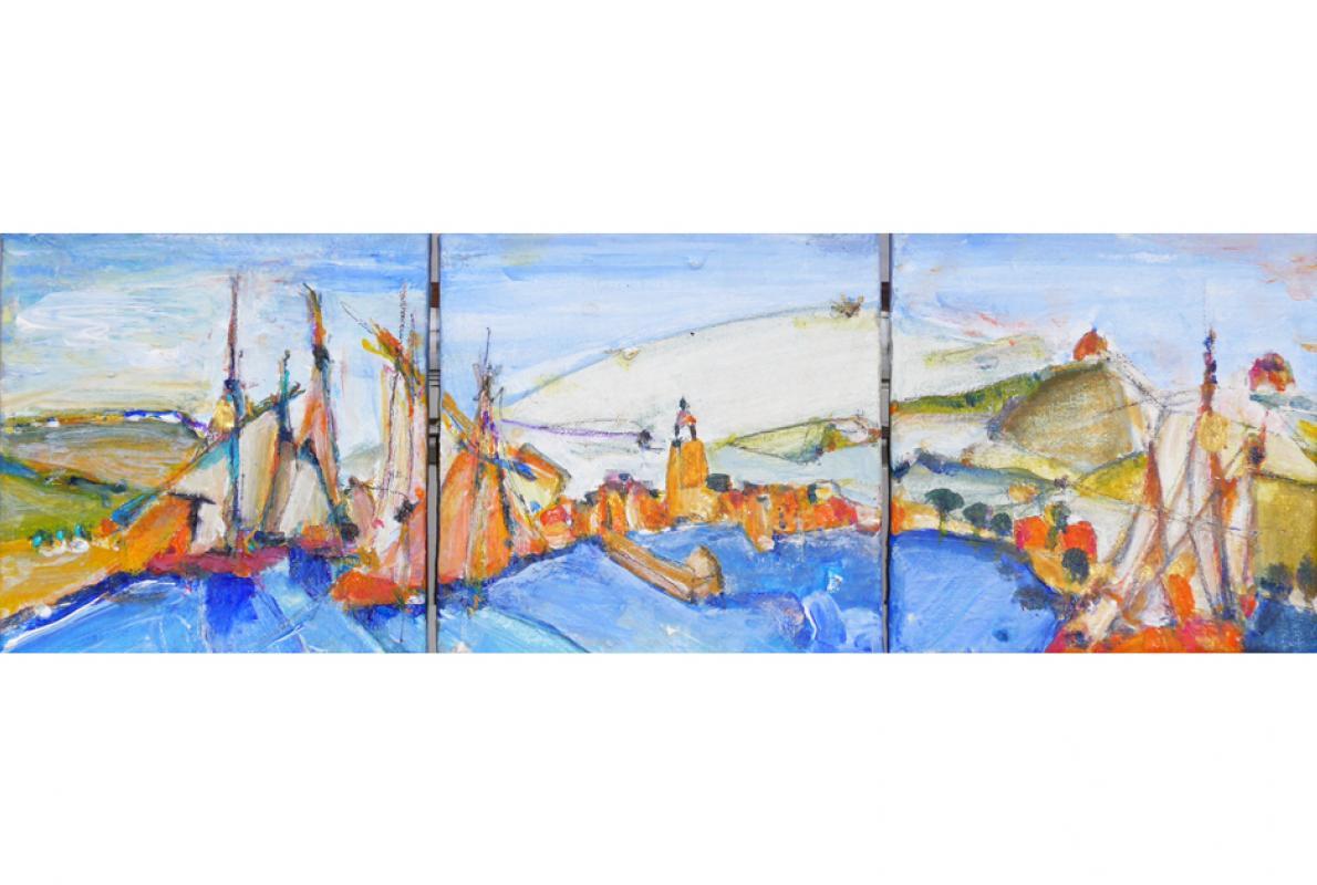 Am Busen des Golfes,Acryl auf Leinwand, 3 x 20 x 20 cm, Oktober 2014, Privatbesitz, Albrect K. Scherer