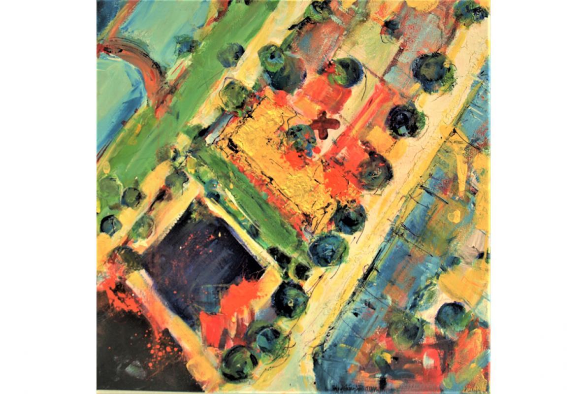 Deutz- Mülheimer, Acryl auf Leinwand, 50 x 50, August 2012 cm, Privatbesitz, Albrecht K. Scherer