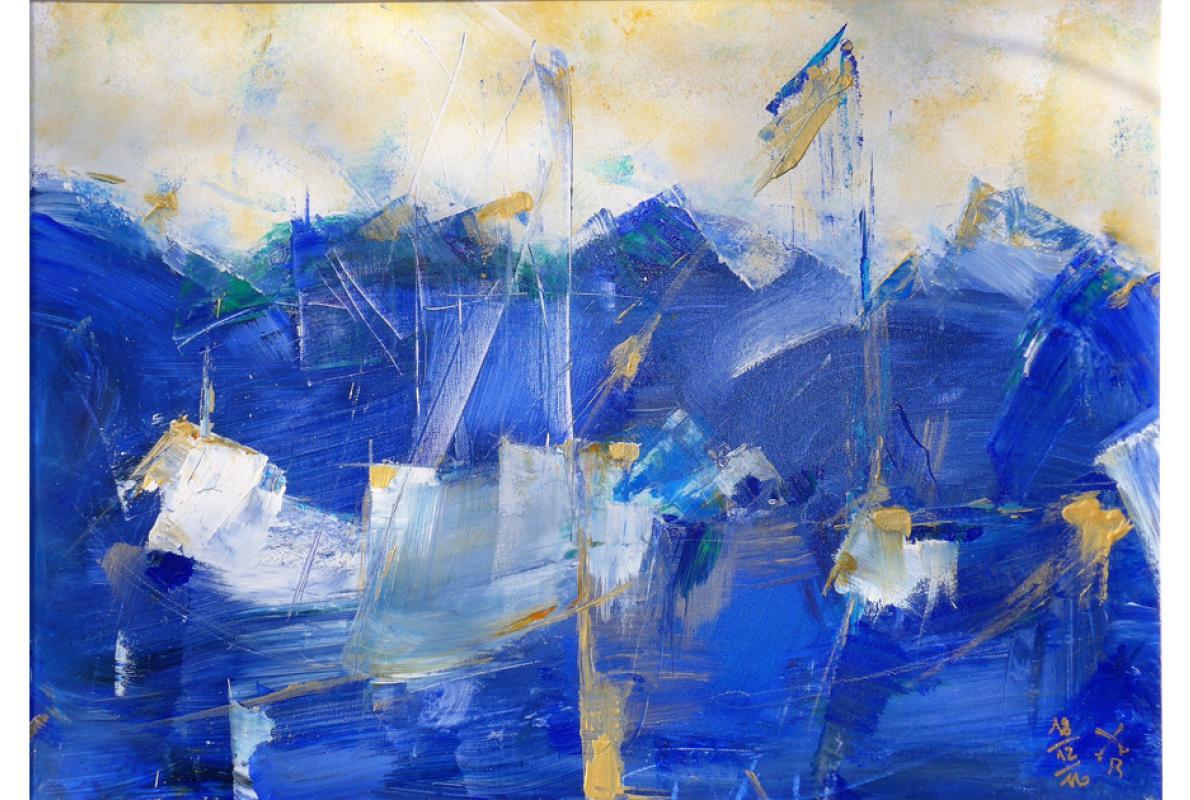 Blaues Geschäft, Acryl auf Leinwand, 60x 80 cm, Dezember 2016, Privatbesitz,Albrecht K. Scherer