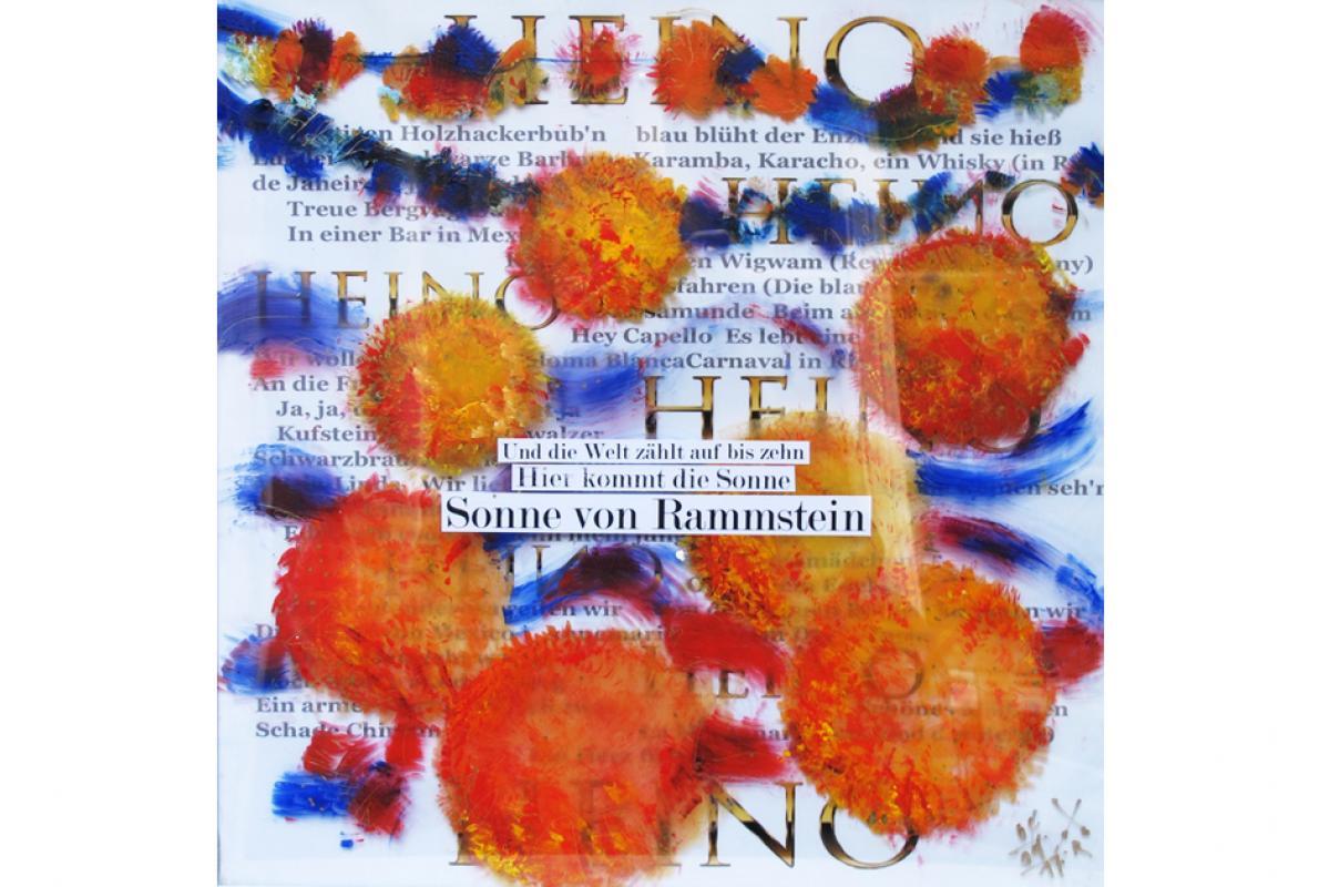 Heimatlust 2.0 Sonne von Rammstein 50 x 50 Acryl auf Plexiglas