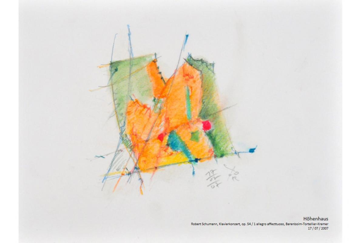 Musikalische Stadtgravur, Notenblatt Höhenhaus, Pastell auf Papier, 29 x 21 cm, Juli 2007, Albrecht K. Scherer
