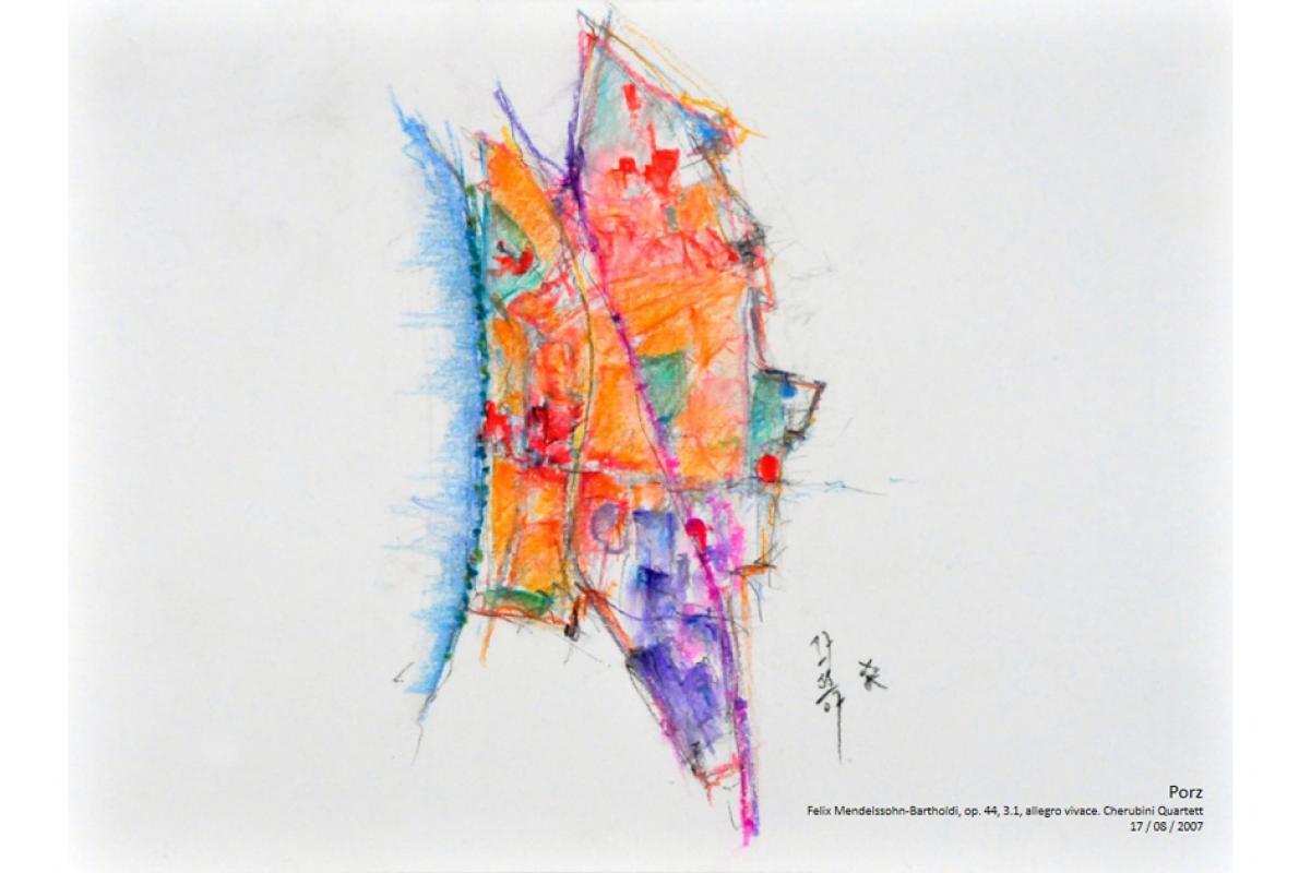 Musikalische Stadtgravur, Notenblatt Porz,Pastell auf Papier, 29 x 21 cm, Juli 2007, Albrecht K. Scherer