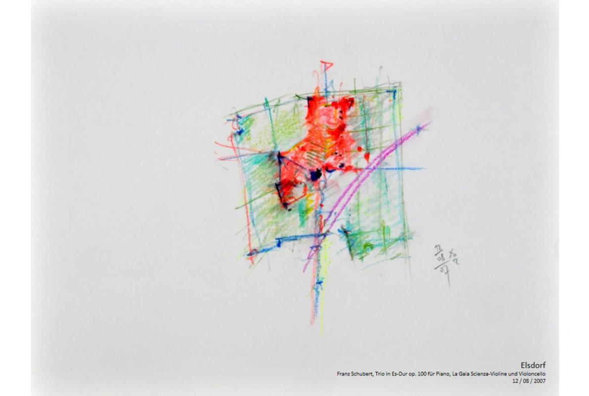 Musikalische Stadtgravur, Notenblatt Elsdorf, Pastell auf Papier, 29 x 21 cm, Juli 2007, Albrecht K. Scherer