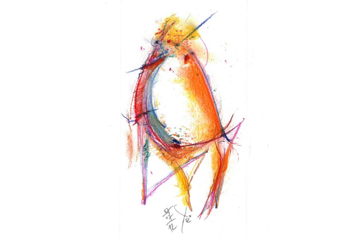 Von Gerundetem, Pastell auf Papier, 21 x 29 cm, Juli 2012, Albrecht K. Scherer