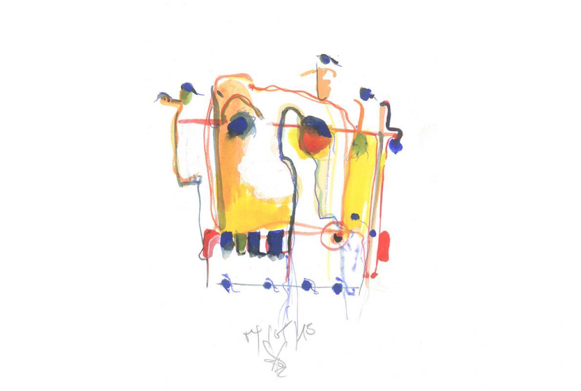 Visage 9, Aquarell auf Papier, 17 x 24 cm, Mai 2013, Albrecht K. Scherer