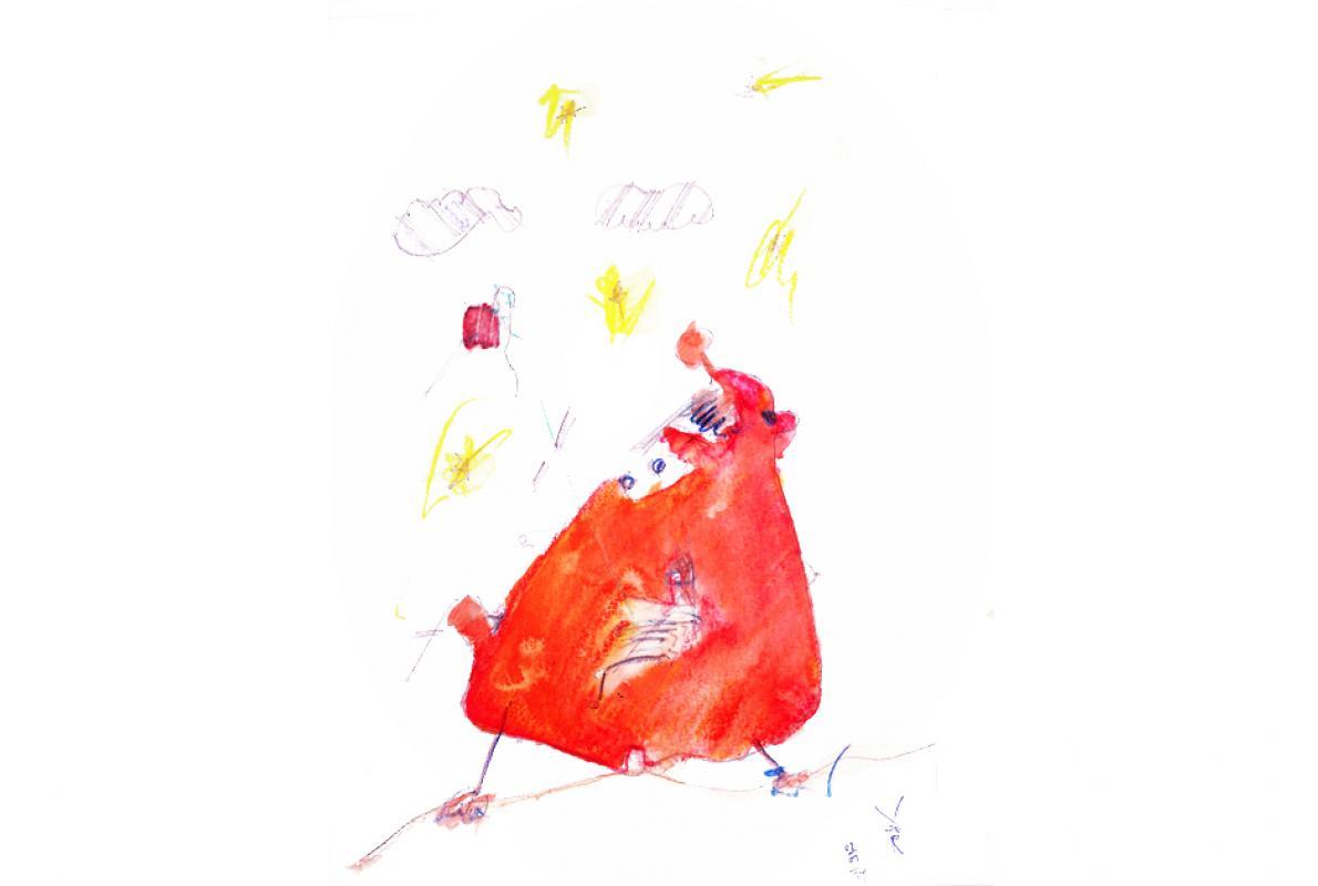 Rottpalapper, Farbstift auf Papier, 14 x 20 cm, Januar 2014, Albrecht K. Scherer