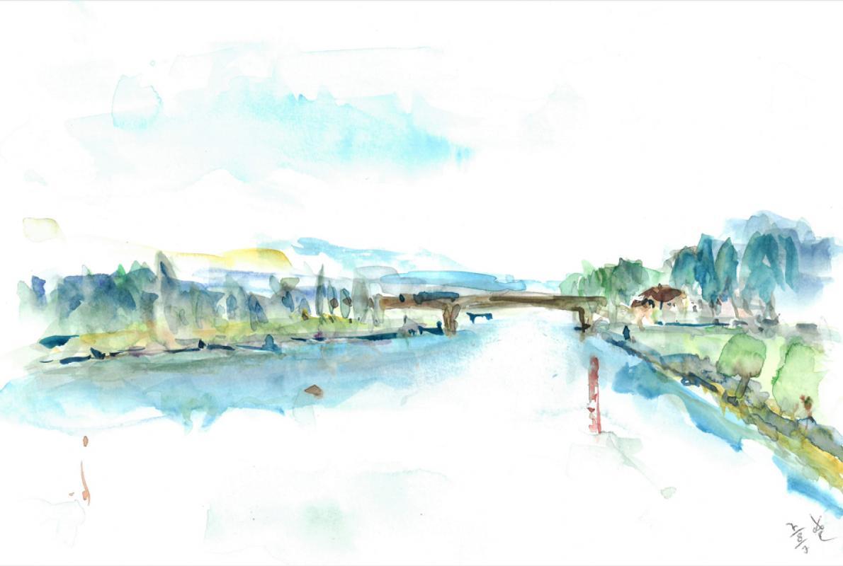 Flusslandschaft an der Saone, Aquarell auf Papier, 28 x 21 cm, August 2003 - Albrecht K. Scherer