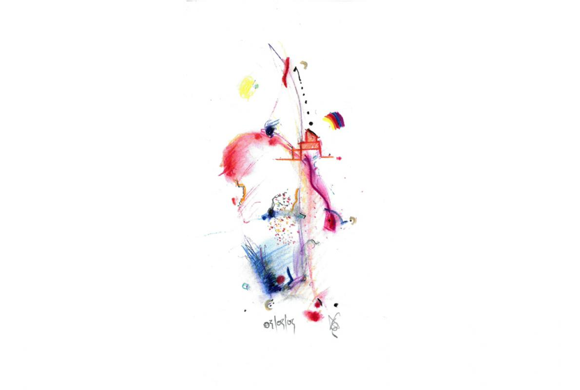 Jahresklang, Pastell auf Papier, 15 x 29 cm,  Dezember 2006 - Albrecht K. Scherer