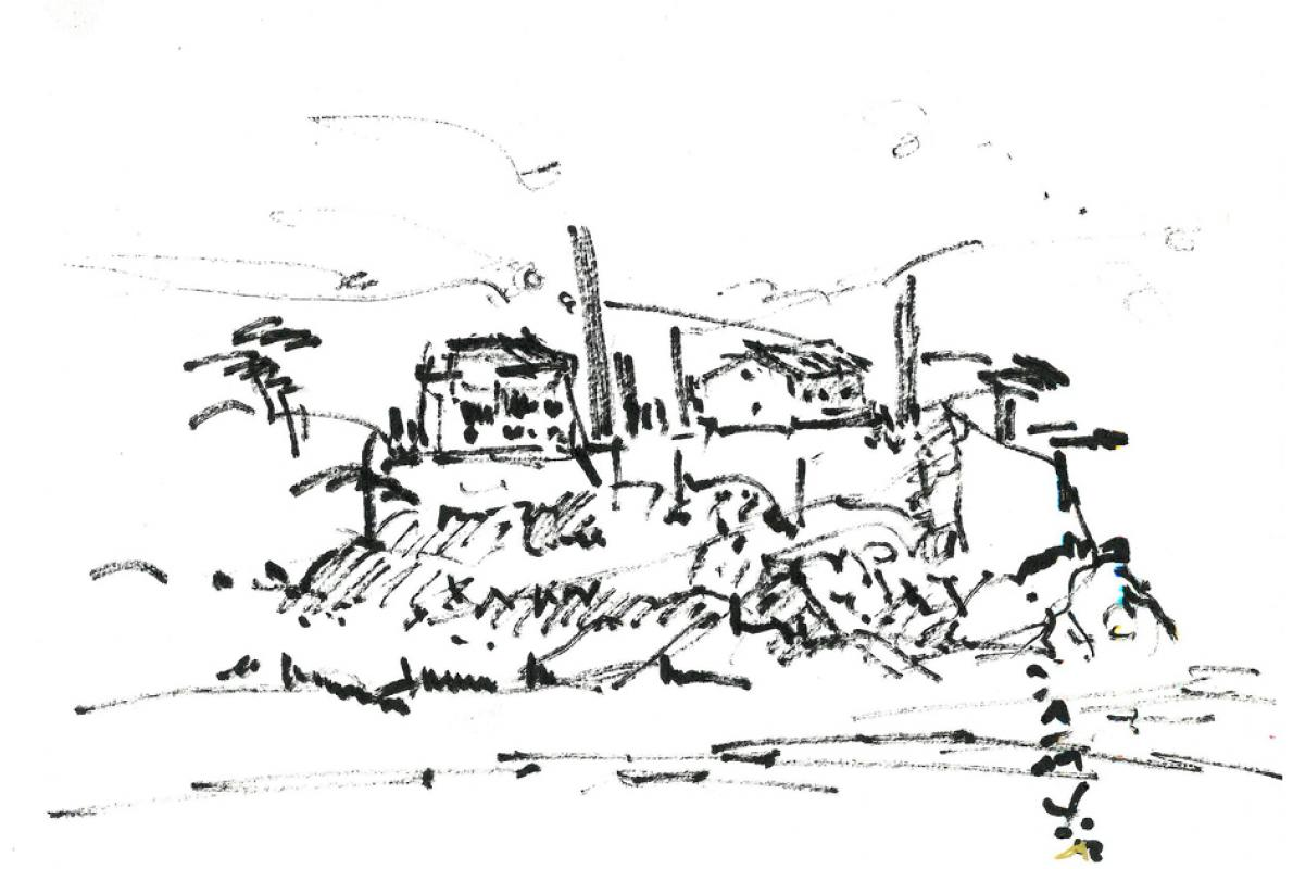 Landschaft bei Lorges - Var, Filzstift auf Papier,15 x 21 cm, Januar 2009, Albrecht K. Scherer