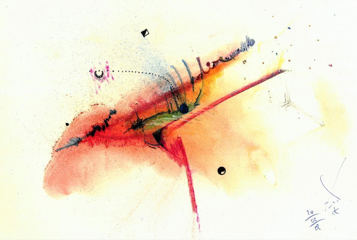 Restruktion, Pastell auf Papier, 25 x 32 cm,  Februar 2002_02_20 - Albrecht K. Scherer