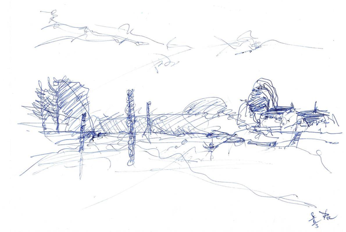 Staustufe an der Saone, Kuli auf Papier, 28 x 21 cm, August 2003 - Albrecht K. Scherer