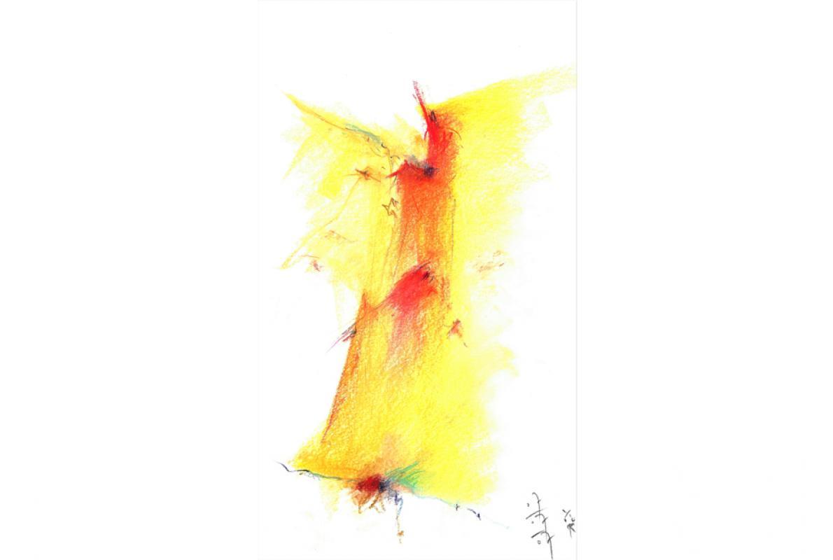 Engel, Pastell auf Papier, 29 x 40 cm, Juli 2007, Privatbesitz, Albrecht K. Scherer
