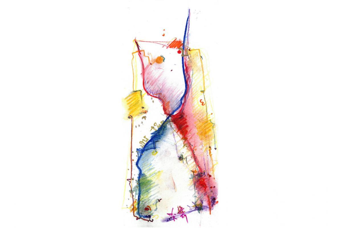 Jahreslauf, Pastell auf Papier, 15 x 29 cm, Dezember 2009, Privatbesitz, Albrecht K. Scherer