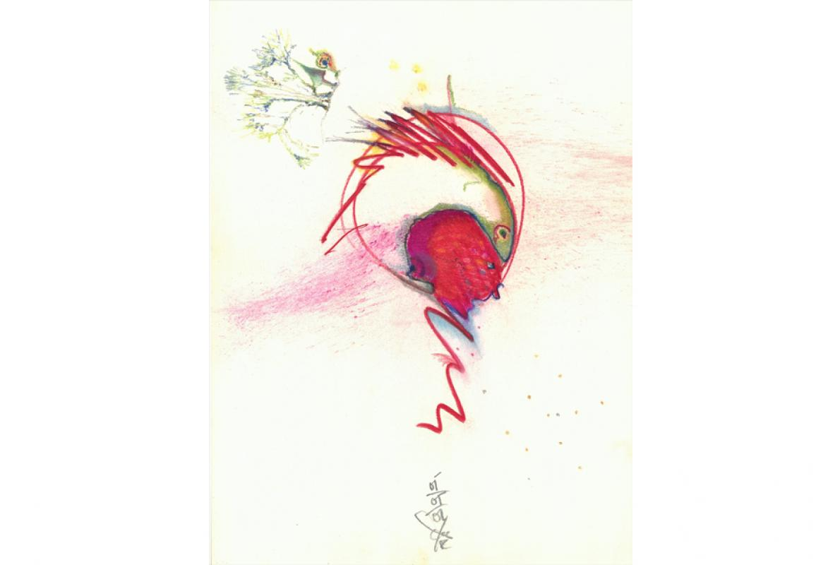 Auge, Pastell auf Papier, 23 x 31 cm, Mai 2002 - Albrecht K. Scherer
