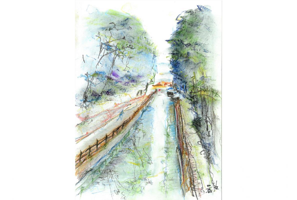 Canal du centre,  Pastell auf Papier, 21 x 29 cm, August 2003 - Albrecht K. Scherer