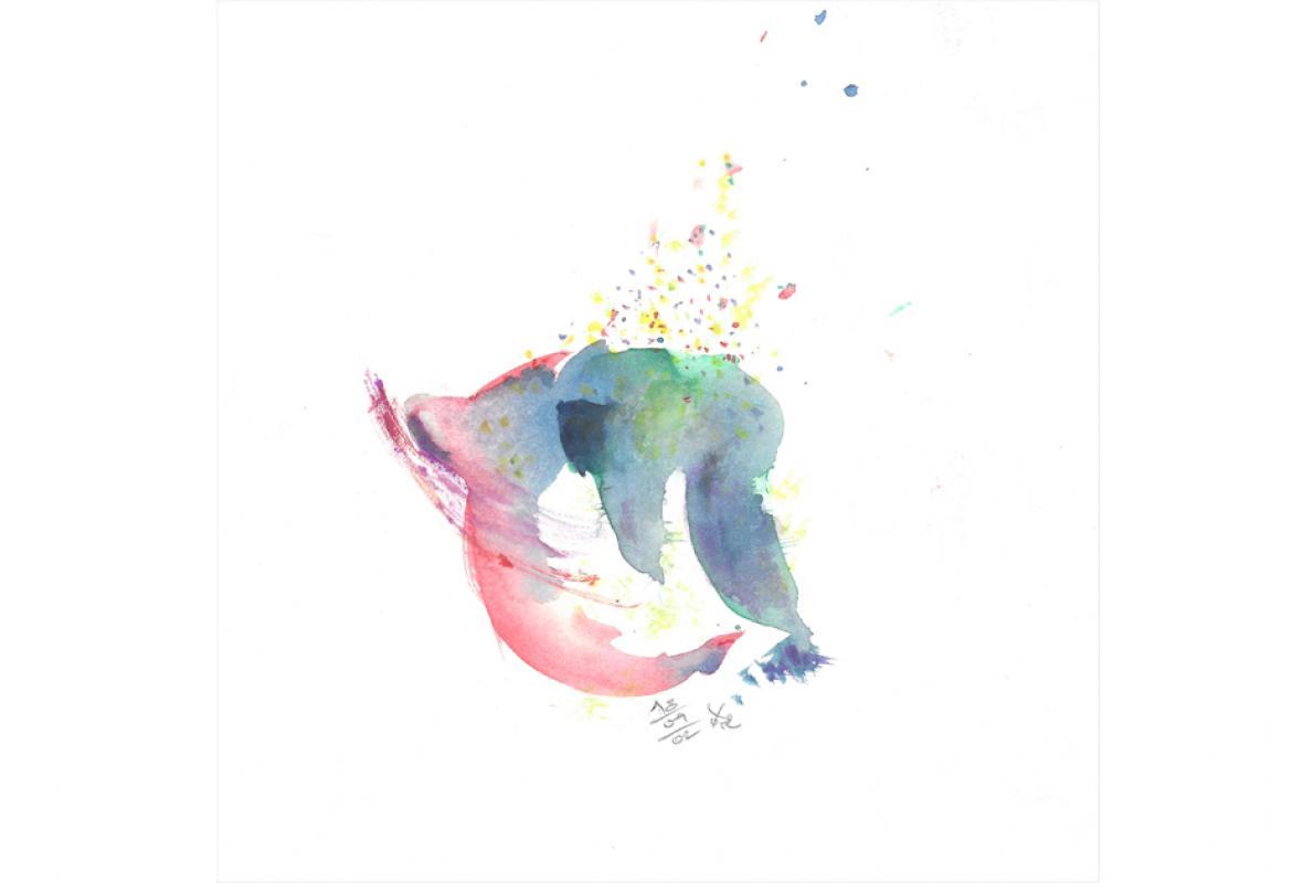 Auflösende Rundung  Aquarell auf Papier, 25 x 25 cm, September - Albrecht K. Scherer