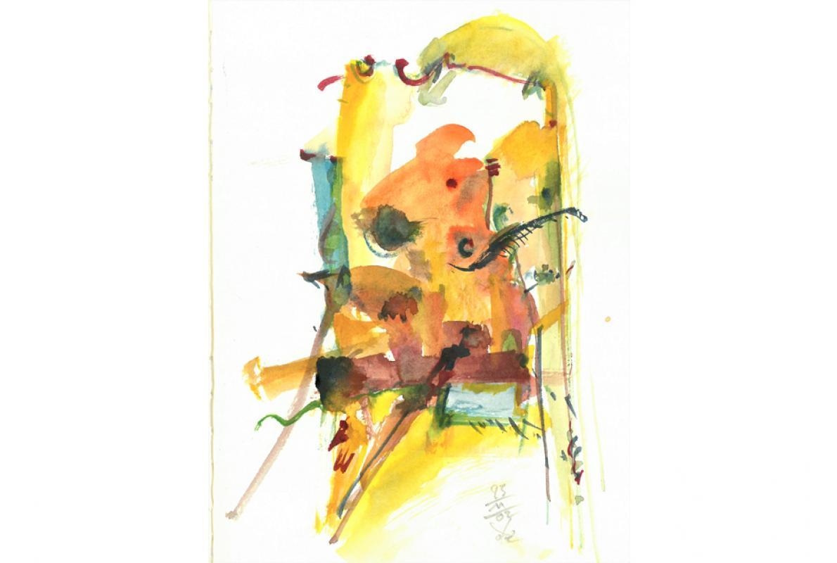 Figürlich am Tor, Aquarell auf Papier, 23 x 29 cm, November 2002 - Albrecht K. Scherer