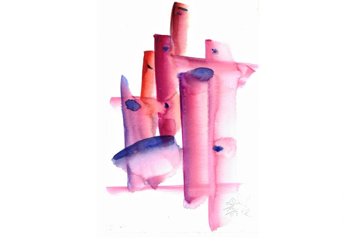 Gleiche sich verbünden, Aquarell auf Papier, 18 x 28 cm, Dezember 2003 - Albrecht K. Scherer