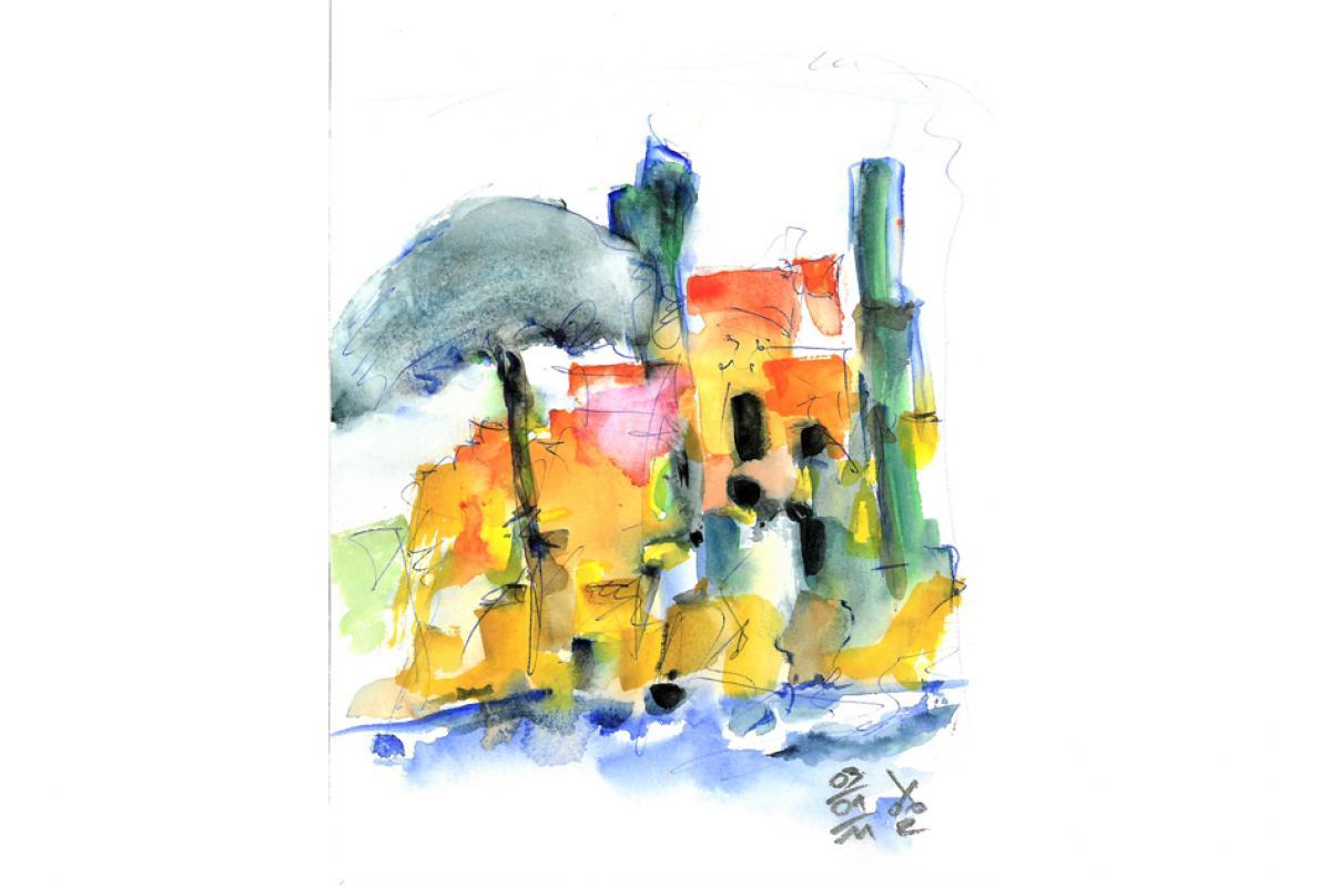 Bei Croix Valmère, Aquarell auf Papier,14 x 21 cm, Januar 2011,Albrecht K. Scherer