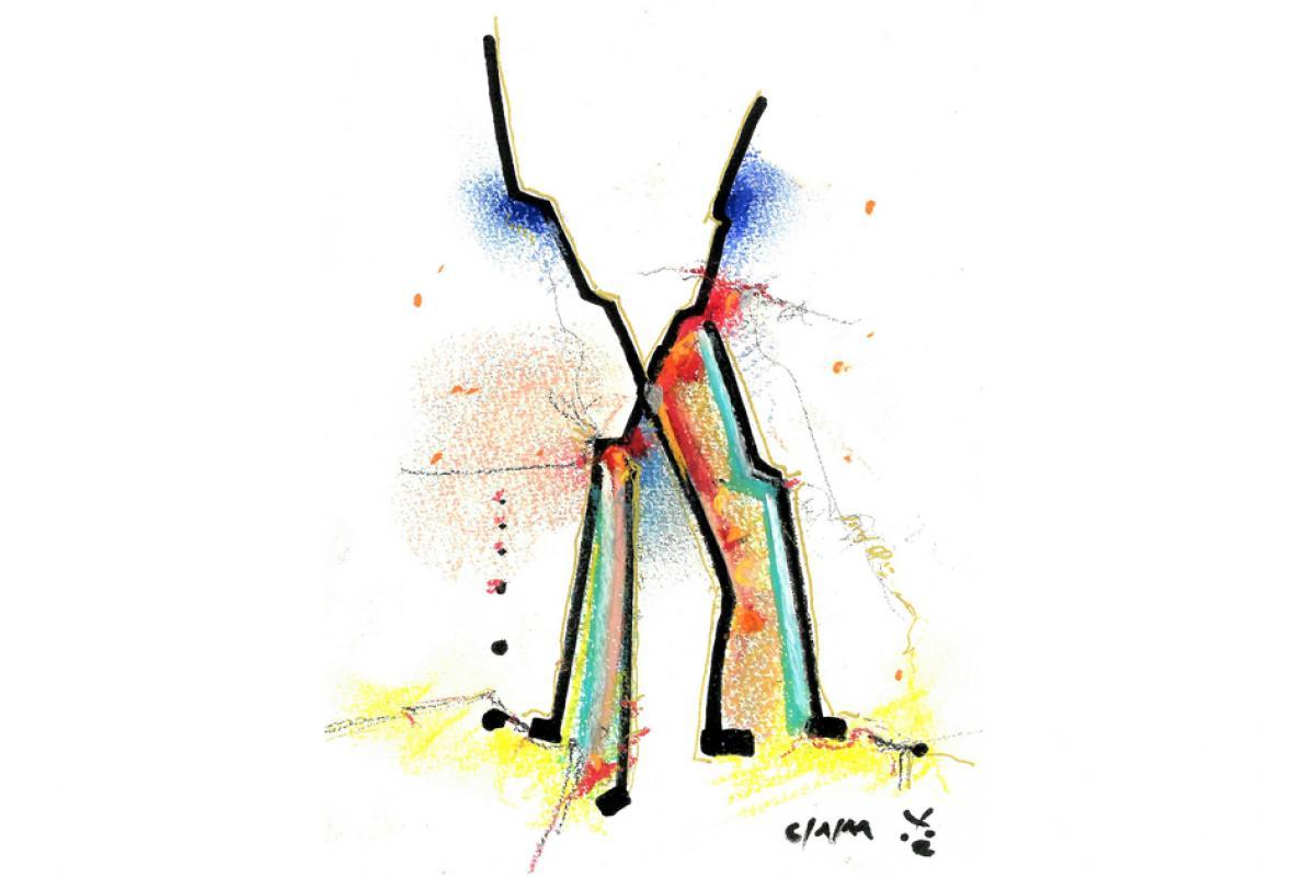 Gibt sich verstärkt, Filzstift - Pastell auf Papier,14 x 21 cm, Januar 2011, Albrecht K. Scherer