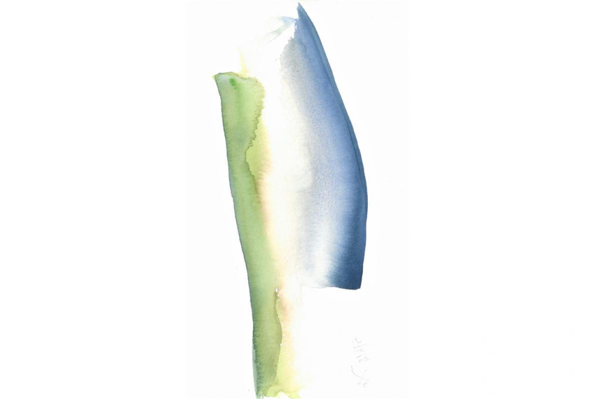Gegen - Über, Aquarell auf Papier, 16 x 29 cm, Dezember 2003 - Albrecht K. Scherer